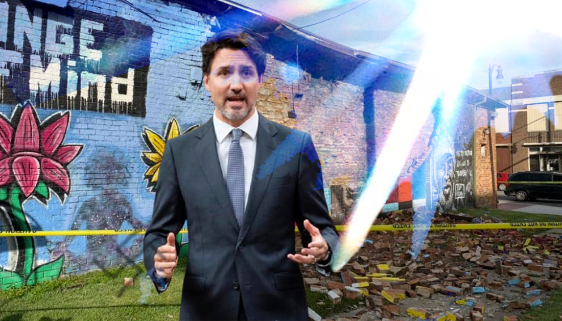 Justin Trudeau Condemns God for Hate-Motivated Lighting Strike on George Floyd Mural